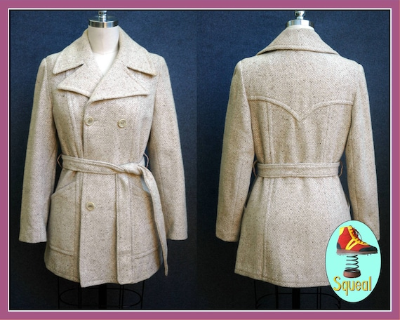 Vintage 1970s Wool Jacket with Tie Belt