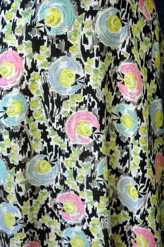 Vintage 1940s Cotton Novelty Hat Print Dress - image 9