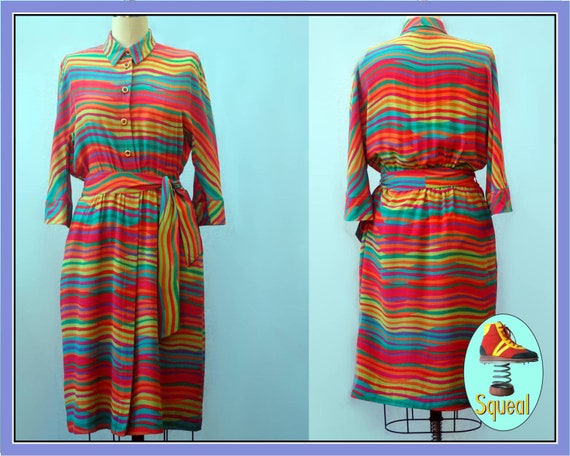 Vintage 1980s Rainbow Shirtwaist Dress