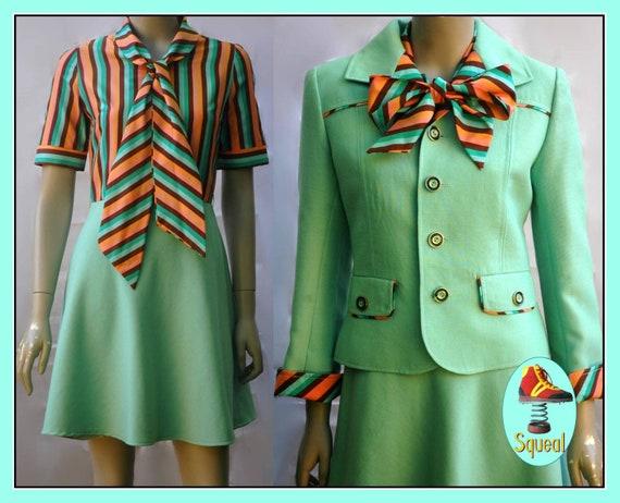 Vintage 1960s Mint Green Mod Dress and Jacket