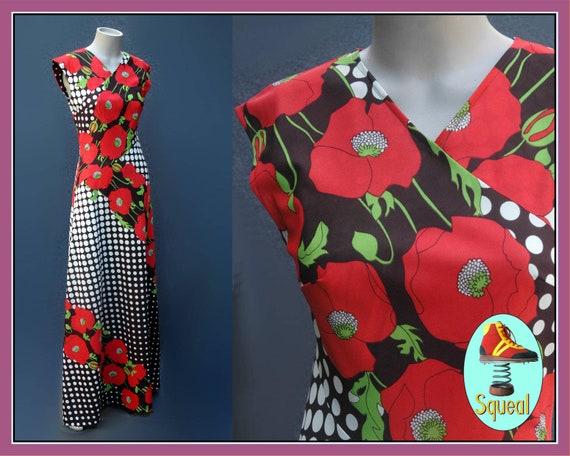 Vintage 1970s Does 30s Floral Maxi Dress