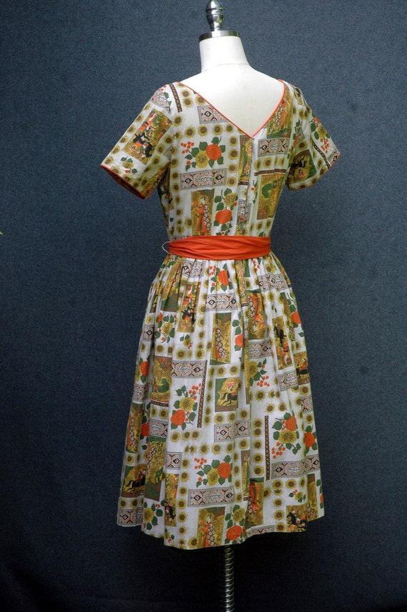 Vintage 1950s Novelty Print Dress - image 5
