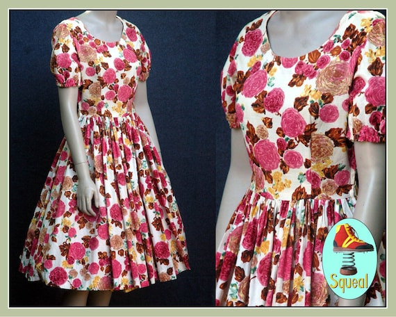 Vintage 1950s rose print cotton dress (small)
