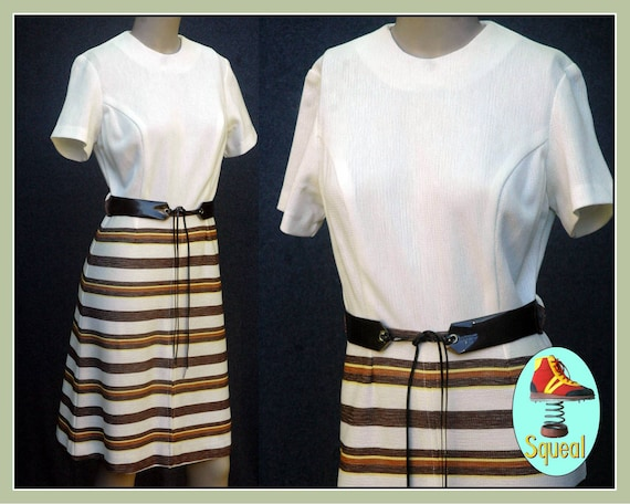 Vintage 1970s Mod  Dress With Stripes and Belt