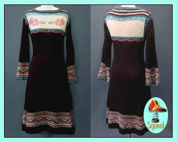 Vintage 1970s Black Knit Dress with Bell Sleeves (