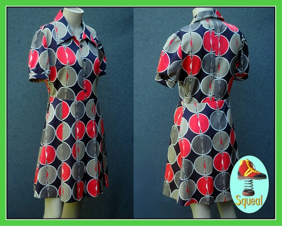 Vintage 1960s - 1970s Geometric Mod Scooter Dress