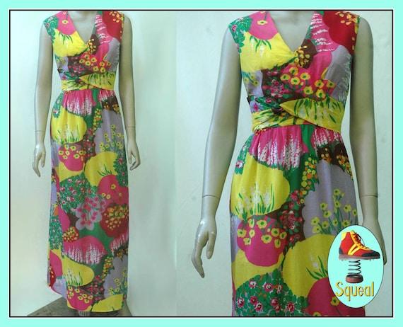 Vintage 1960s Psychadelic Floral Cotton Maxi Dress