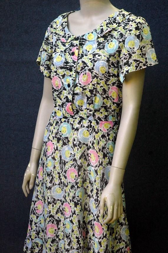 Vintage 1940s Cotton Novelty Hat Print Dress - image 5