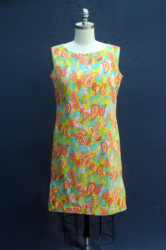 Vintage 1960s Psychadelic Cotton Shift Dress - image 4