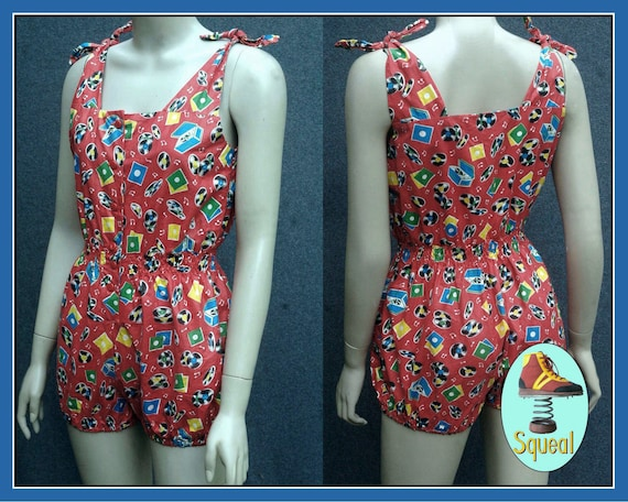 1950s Music Records Novelty Print Playsuit Romper