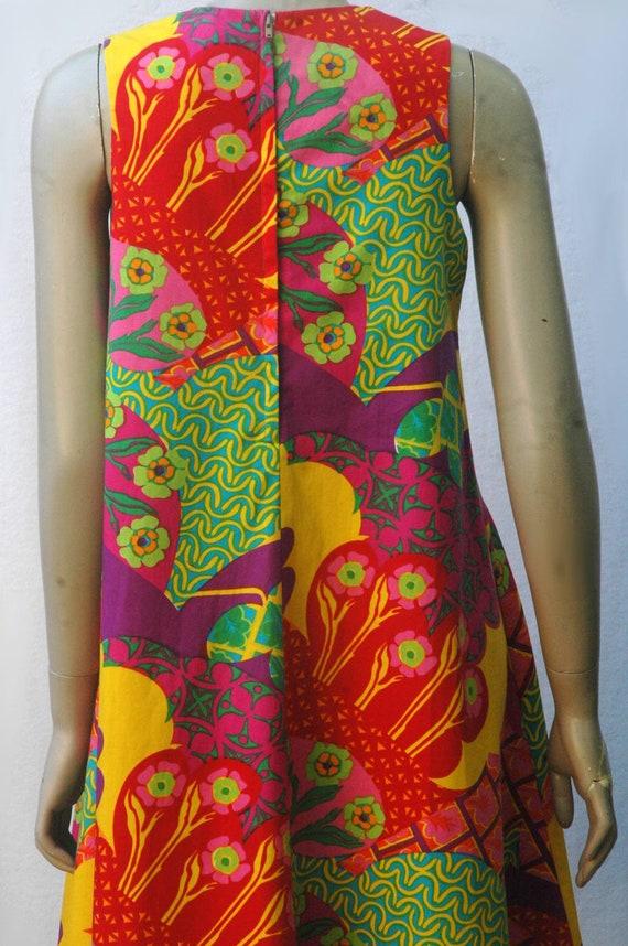 Vintage 1960s Psychadelic Op Art Geometric Floral… - image 6