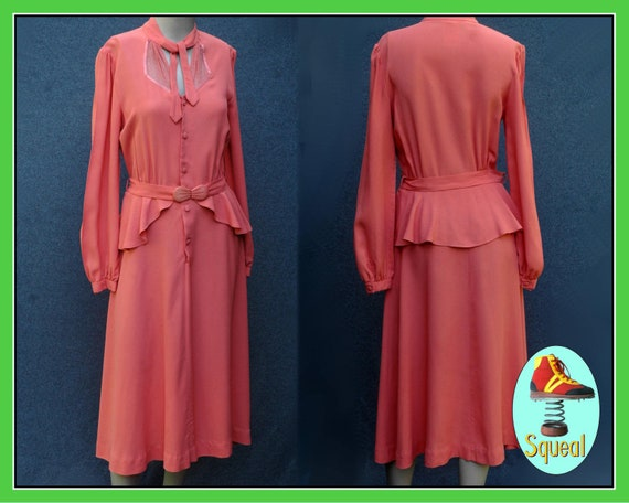 Vintage 1970s does 40s Peplum Dress