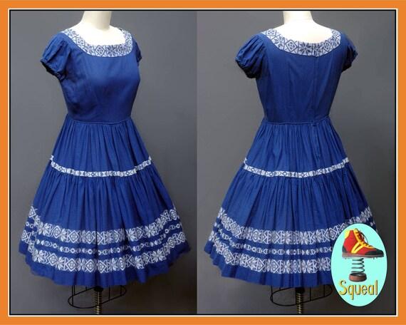 Vintage 1950s Blue Patio Dress