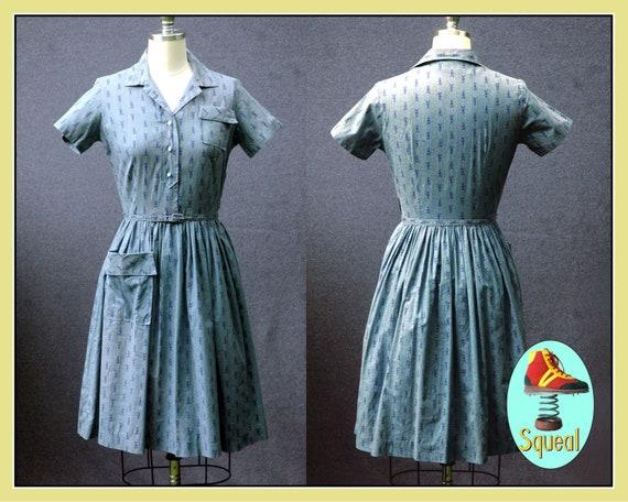 Vintage 1950s Teal Blue Novelty Print Dress