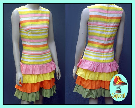 Vintage 1960s Playsuit Romper with Ruffles
