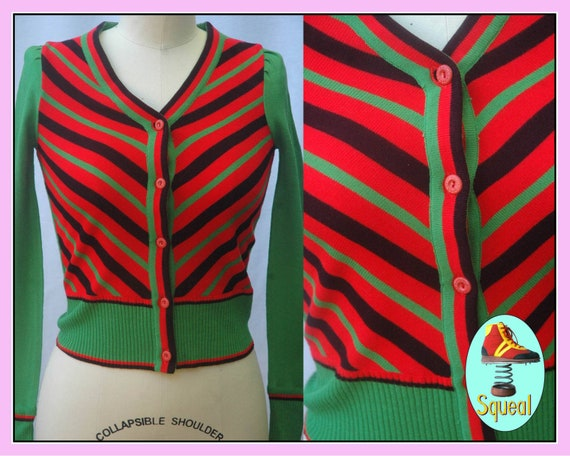 Vintage 1970s Fitted Cardigan With Diagonal Stripe