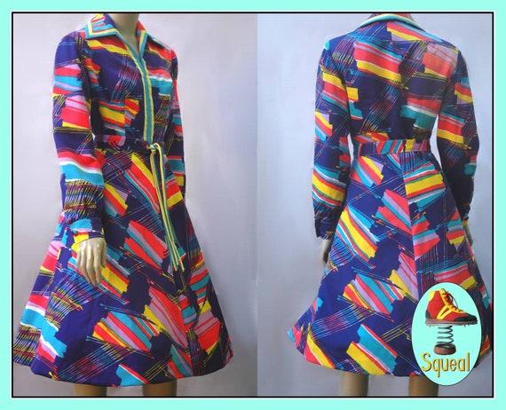 Vintage 1960s Psychadelic Neon Op Art Dress abstac