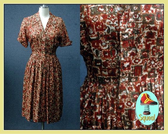 Vintage 1950s Abstract Print Rayon Shirtwaist Dres