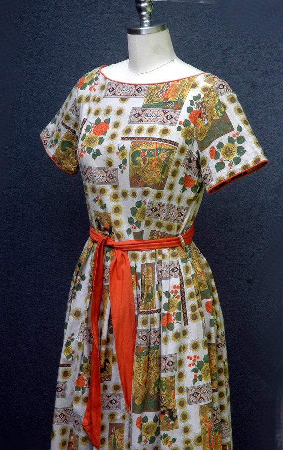 Vintage 1950s Novelty Print Dress - image 6