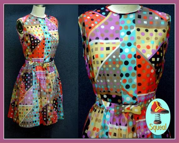 Vintage 1960s Psychadelic Spots Dots Party Mini Dr