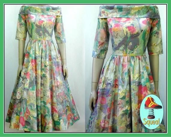 Vintage 1980s does 1950s Floral Dress
