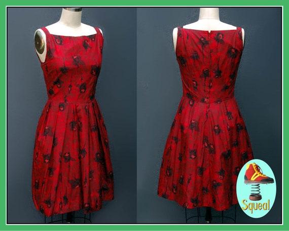 Vintage 1950s Rose Print Dress