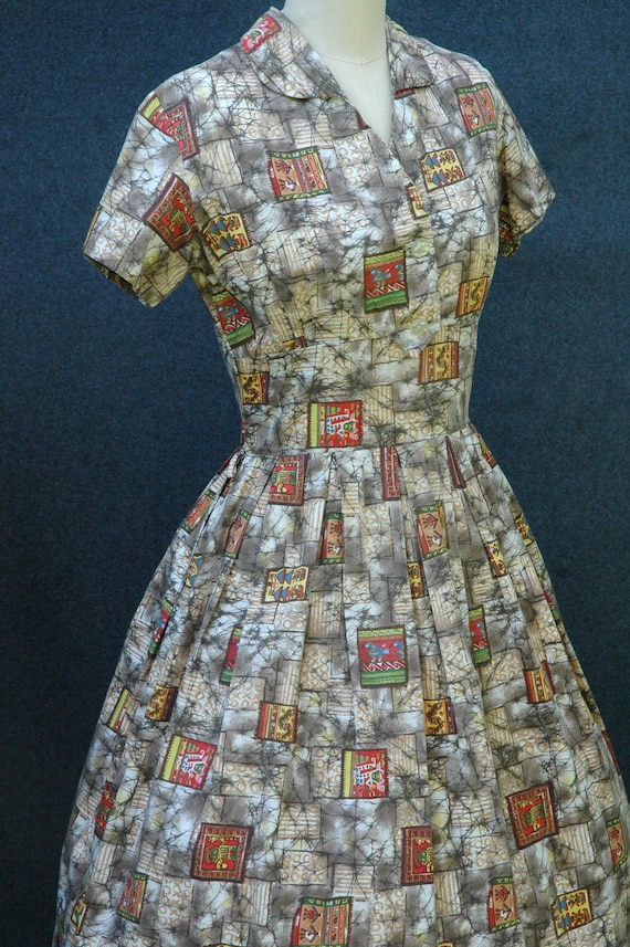 Vintage 1950s Novelty Print Dress - image 8