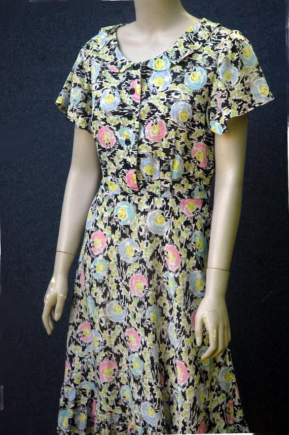 Vintage 1940s Cotton Novelty Hat Print Dress - image 6