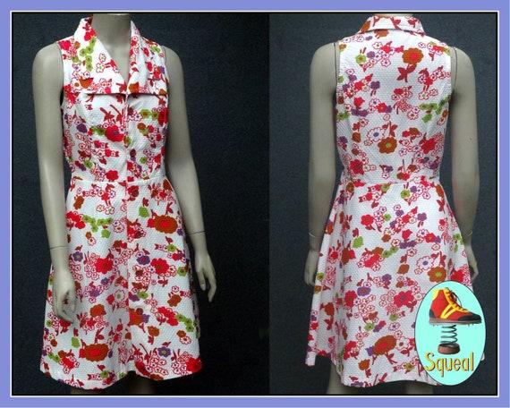 Vintage 1970s Pink Floral Cotton Dress