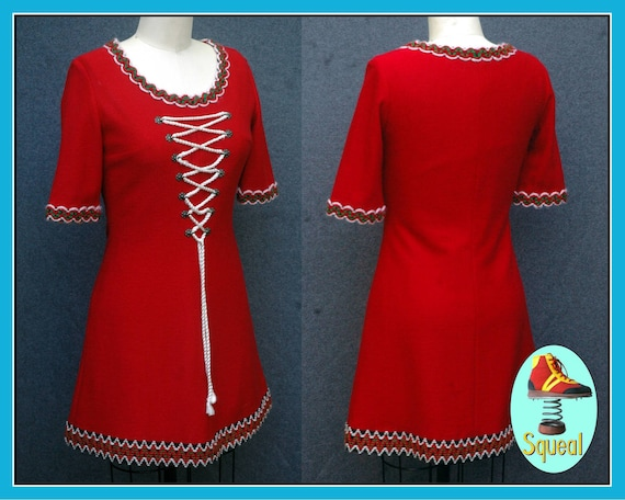 Vintage Red Wool Lace Up Dress