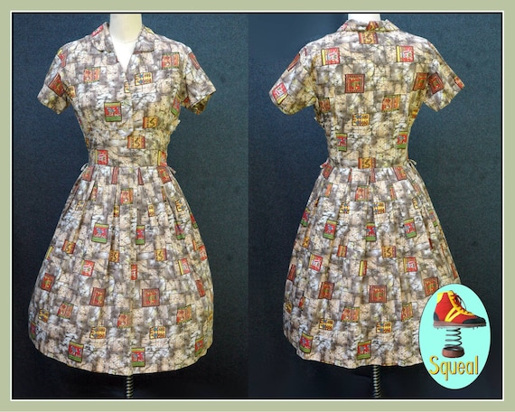 Vintage 1950s Novelty Print Dress - image 1