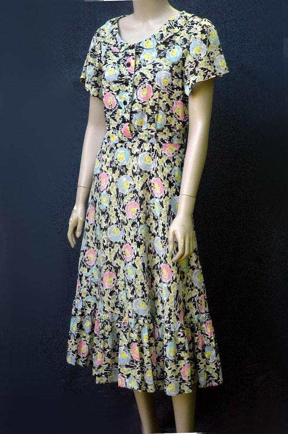 Vintage 1940s Cotton Novelty Hat Print Dress - image 2