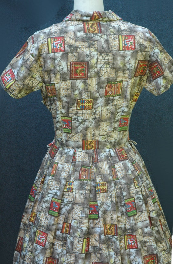 Vintage 1950s Novelty Print Dress - image 7