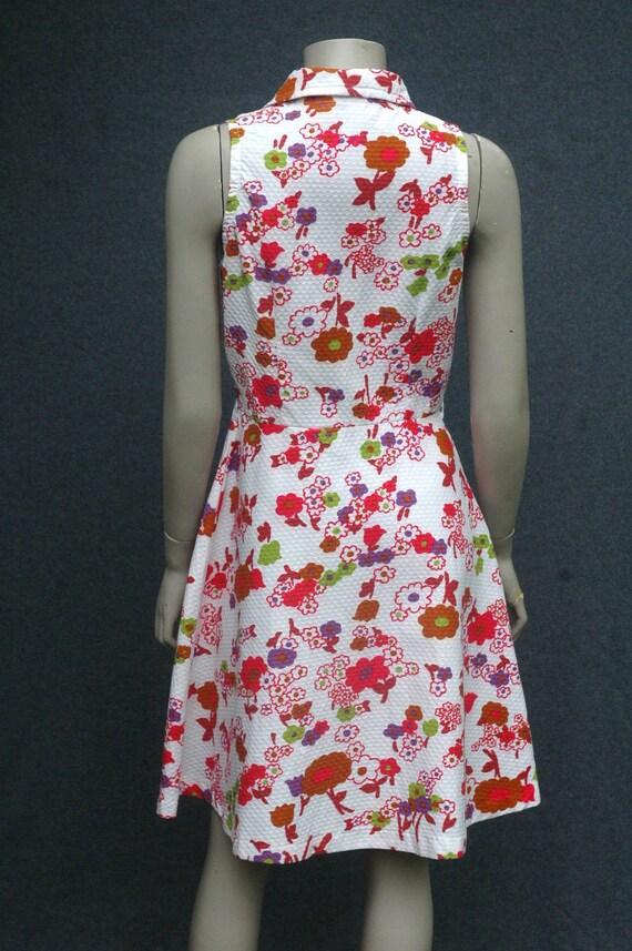 Vintage 1970s Pink Floral Cotton Dress - image 3