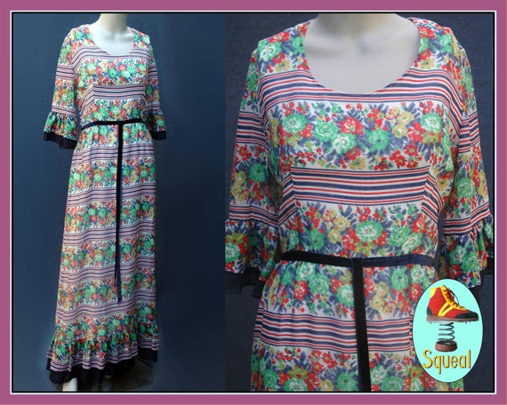 Vintage 1970s does 1930s Cotton Floral Maxi Dress