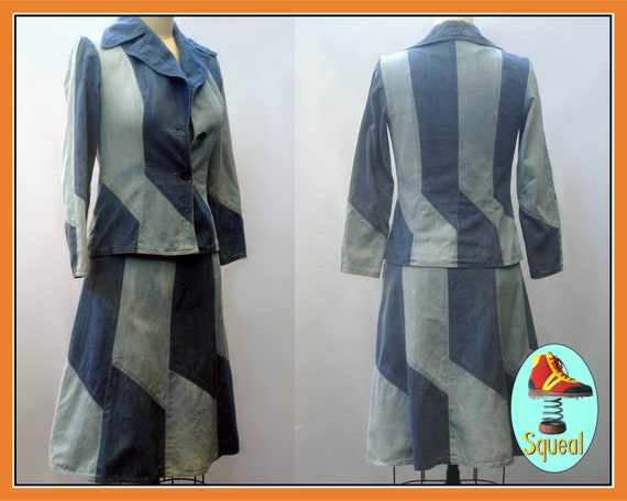 Vintage 1970s Denim Patchwork Skirt and Jacket Set