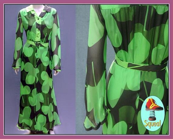 Vintage 1960s Green Psychadelic Maxi Dress