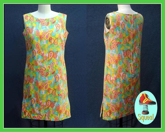 Vintage 1960s Psychadelic Cotton Shift Dress