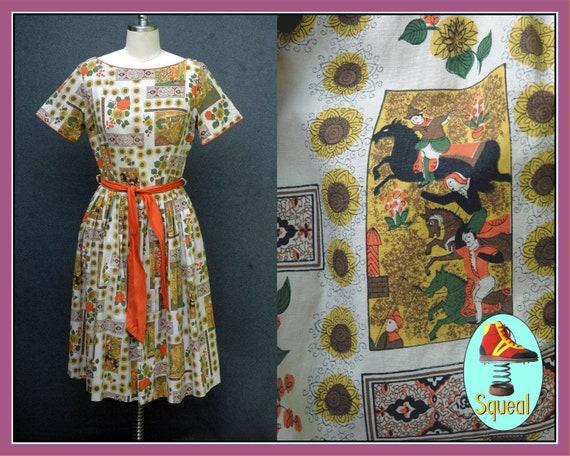 Vintage 1950s Novelty Print Dress - image 1