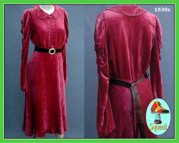 Vintage Original 1930s Velvet Dress