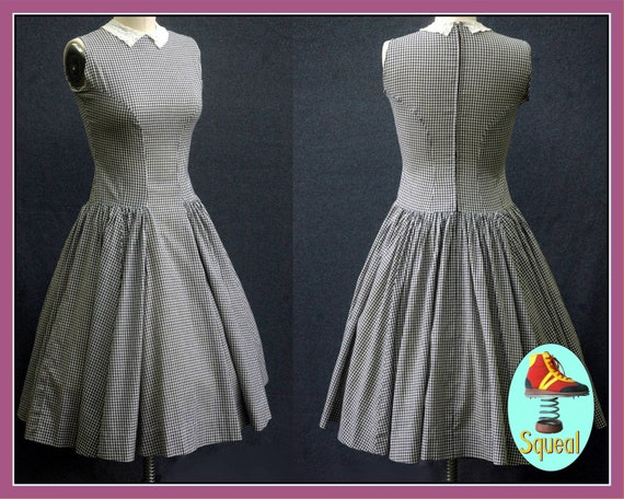 Vintage 1950s Black and White Gingham Drop Waist D
