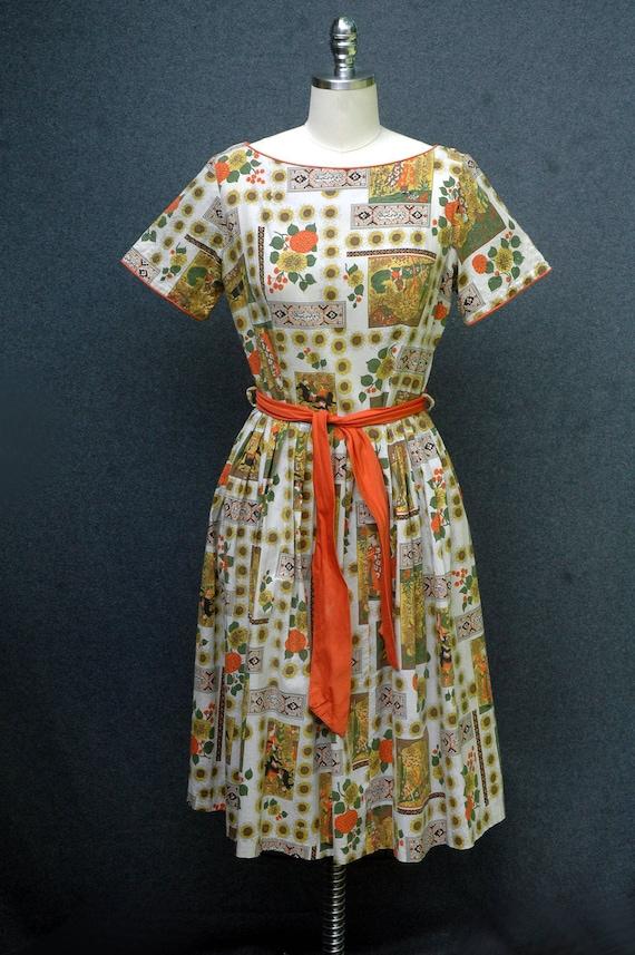 Vintage 1950s Novelty Print Dress - image 3