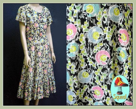 Vintage 1940s Cotton Novelty Hat Print Dress - image 1