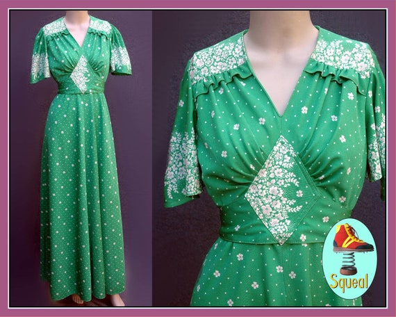 Vintage 1970s does 1930s Deco Maxi Dress