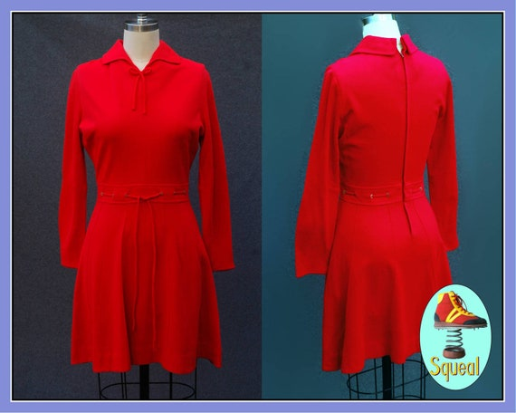 Vintage 1960s Red Mod Scooter Dress (Small)