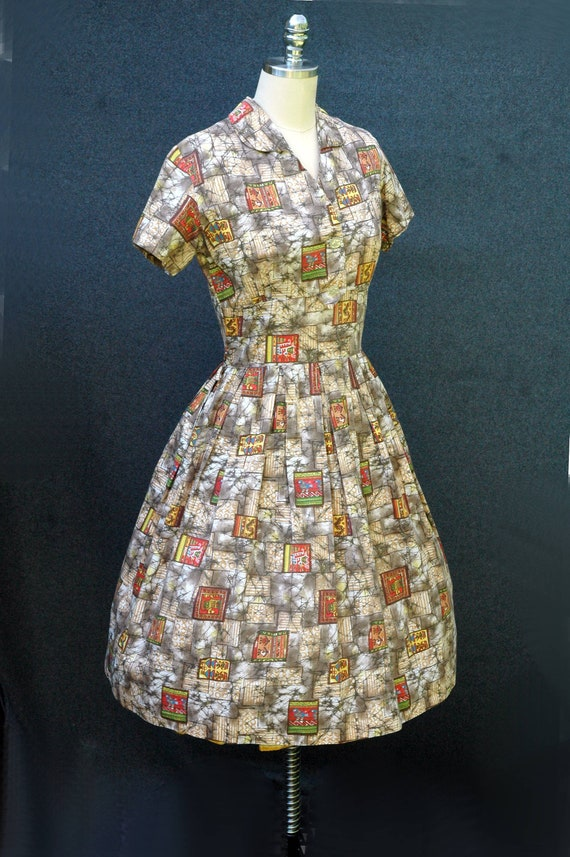Vintage 1950s Novelty Print Dress - image 5