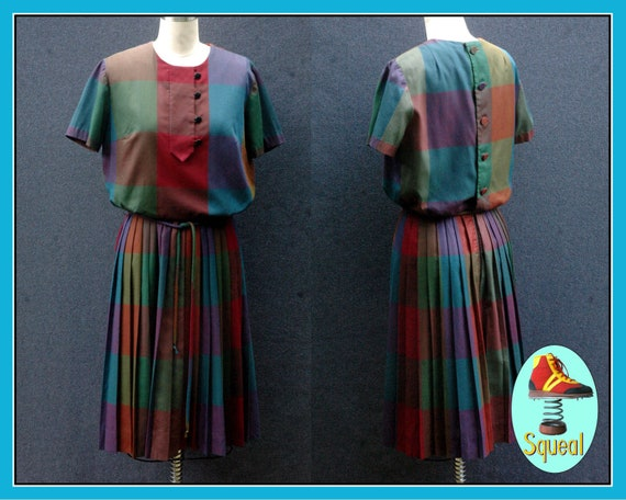 Vintage Early 60s Rainbow Plaid Pleated Dress