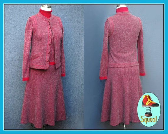 Vintage 1970s Tricosa, French Wool Skirt, Top and