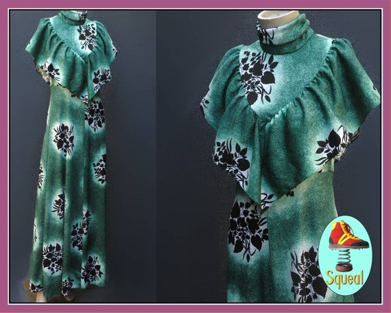 Vintage 1970s does 1930s Green Maxi Dress with Ruf
