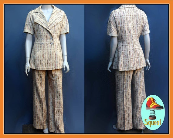 Vintage 1970s French Pant Suit Jacket and Trousers